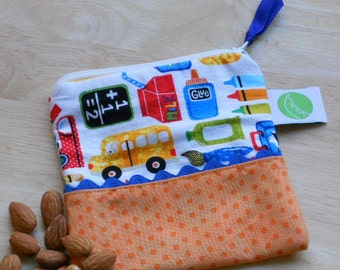 "Reusable Snack Sack, Mini Size - 5"" x 5""-  Machine Washable, Zippered, EcoFriendly"