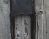 ON SALE Brown leather handbag , Fringed leather phone bag , Fringed crossbody purse