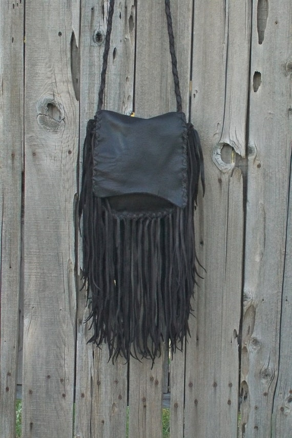 Rustic boho handbag ,  Fringed leather purse ,  Crossbody shoulder bag
