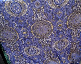 "45"" Wide Drapey Purple Yellow Brown Black Moroccan Pattern Print Rayon Fabric for Dress Home Decor Curtains Draperies Moorish Decor S126"