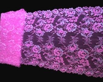 "9"" Wide (23 cm) Stretch Hot Pink Shimmery Scalloped Lingerie Lace Trim Floral Rose Pattern S127 FJT3"