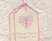 Custom Baptism Favor Tags, Girl First Holy Communion Favor Tags, Pink Christening Tags, Baby Girl Pink Cross Tags - Vintage Style Set Of 20