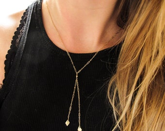 "Gold Lariat Necklace - ""Diamond Lariat"" - Gold Y Necklace - 14k Gold Filled Chain Bolo Necklace - Chain Lariat with Diamond Shaped Charms"