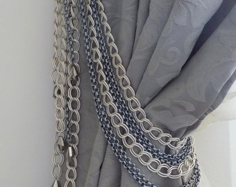 Silver chains tieback with glass pendants, drapery holder