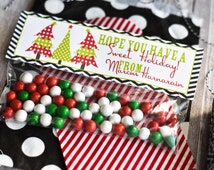 Christmas Treat Bag Topper / Sweet Holiday Treat Bag Toppers / Christmas Classroom Treat / Holiday Treat Topper / Happy Holiday Treat Bag