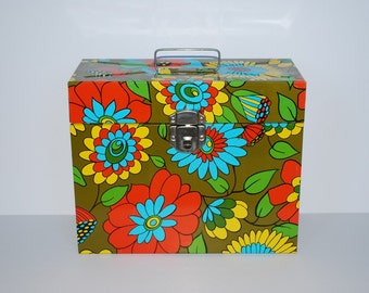 "Vintage Mod Flower Metal Office File Storage Box with Original Key - 12"" x 10"" Organization Storage Box - 1970's"