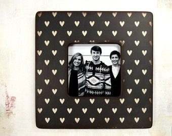 Black And White Hearts Picture Frame,  Photo Frame, Picture Frames, Modern, Heart,  Unique Frames, decor,Valentine's Day, Heart Frame