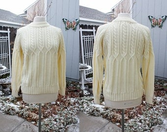 1970's Ivory Sweater Pullover Jumper Cable Stitch Small Medium Vintage Retro 70's Irish Fisherman's Hipster Preppy Mock Turtleneck