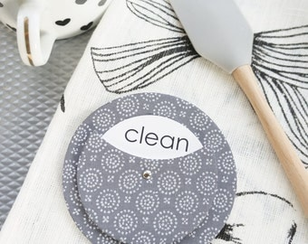 Clean Dirty Dishwasher Magnet - 3 Colors Baby Blue Brown Silver Gold Gray Charcoal Old World Print Kitchen Sign Dishes Cleaning