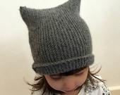 Kids Kitten Ears Hat Beanie Grey Alpaca