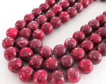 "Jasper Round Beads - Red Jasper Mosaic Beads - Natural Smooth Gemstone - Drilled Snake Skin Beads - 12mm - 16"" Strand - DIY Jewelry Making"