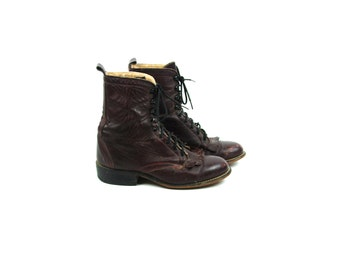 Wine Colored Lace Up Packer Boots with Kiltie by LAREDO, Women's Size 7 C