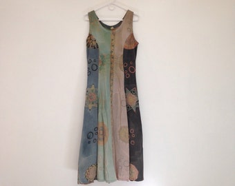 Beautiful Vintage 1990s Super Soft Pastel and Muted Earth Tone Abstract Maxi Sundress