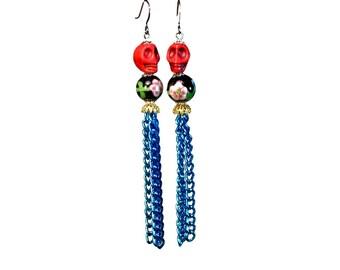 Colorful Festive Sugar Skull Tassel Earrings, Día de Muertos, Halloween Earrings Day of the Dead SALE!