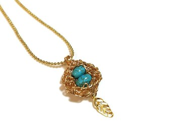 Small Gold Robins Nest Necklace, Boho Pendant with Leaf, Mothers Day Gift,  Birds Nest