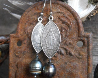 Sanctuary          Antique French Silver Religious Medals Tahitian Pearl Earrings