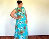 Plus size vintage maxi dress turquoise 1970s Chinese floor length sleeveless floral empire waist light blue Asian dress size 16 18 xl xxl