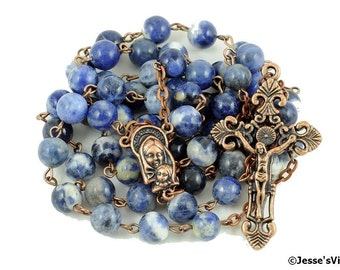 Catholic Rosary Beads Blue White Sodalite Copper Natural Stone Traditional Five Decade