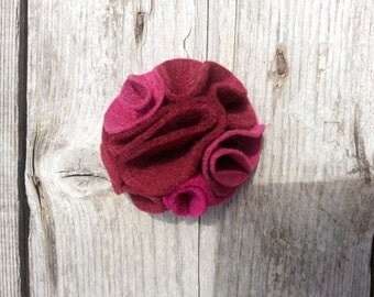 Multi color felt magnetic brooch - shades of Burgundy, Cherie and Rose
