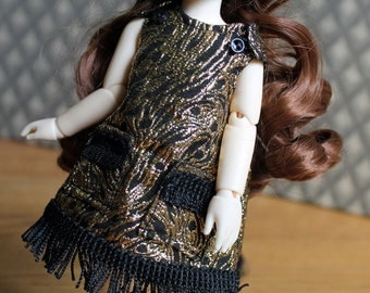 Gold & Black Dress with Fringe for YoSD sized BJDs