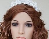 Lace Bridal Headpiece Pearl Crystal Bridal Beaded Hair Comb Wedding Accessory