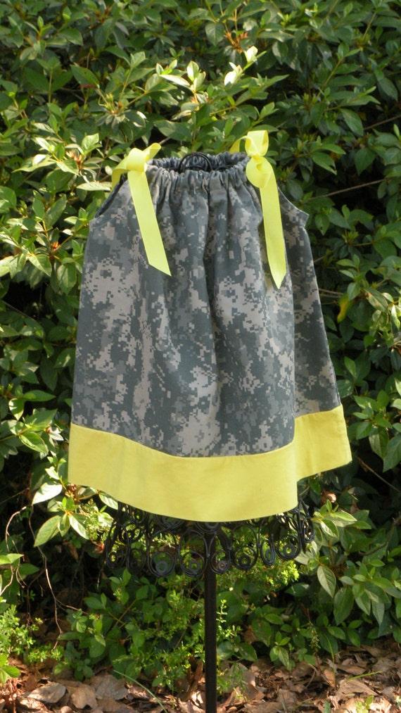 Air Force ABU,Army ACU,Marine Corp Camo or Navy Camo Pillow Case Dress