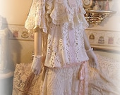 Antique Style Downton Abbey 1920s Vintage Lace Dress - Ivory and Peach Antique Lace - Romantic Wedding - Downton Style Fashion