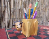 Vintage Wood Bobblehead Cow Pencil Holder