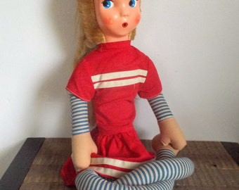 Mid Century Long Legged Blonde Looby Loo Doll in Red Dress