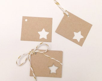 Star Gift Tags - Set of 10 - Star Favor Tags - Wedding Favor Tags - Kraft Gift Tags - Rustic Christmas Tags - Small Gift Tags