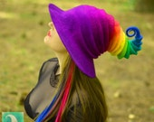 Halloween Rainbow Witch Hat. Wizard Costume Hat. Fantasy Hat. Cosplay Hat. LARP.