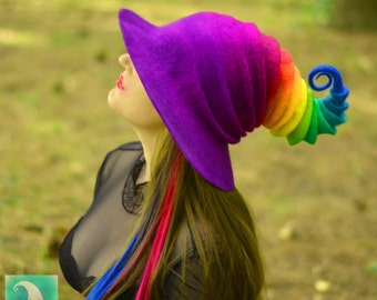 Halloween Rainbow Witch Hat. Wizard Costume Hat. Fantasy Hat. Cosplay Hat. LARP.