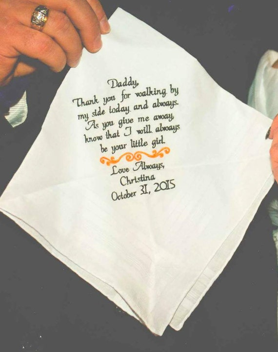 Wedding gift for Dad Wedding Gift Handkerchief from the Bride to her Father From the Groom to his Dad By Canyon Embroidery