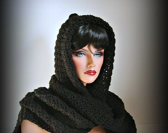 Black Riding Hood, Black Scarf, Black Hood, Christmas, Women, Mens, Black Neckwarmer, Black Medieval, Snood, Winter Accessories, Winter Fash