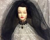 Gothic Bride 30 inch Bridal Veil, Black Wedding Veil, Two Tier Bridal Wedding, 108 inch wide SET of 2