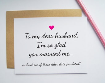 Funny card for husband, anniversary, birthday, Valentines' Day, Fathers' Day