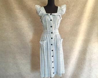 Vintage 40's Sun Dress, White and Blue Cotton, Rockabilly, Small to Medium, Bust 38, Waist 28