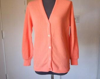 PEACHY KEEN...Vintage Cardigan Sweater, Peach Melon Golf Sweater, Vegan Friendly Acrylic Knit, Women's Small to Medium