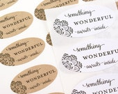 Shop Exclusive - SOMETHING WONDERFUL Awaits Inside stickers with corner doily - package labels, wedding favor labels, gift wrapping