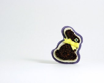 Easter Bunny Chocolate Rabbit Pin. Spring Fashion Brooch. Easter Punch Needle Embroidery. Brown, Lilac, Cream, Yellow.