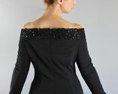 Black Dress, Party Dress, Vintage 90s does 40s, Sequined, Off Shoulder, Long Sleeve, Torch Singer, Gothic Dress, Gown, Medium, FREE SHIPPING