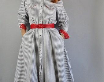 Vintage 80s does 50s Women's Blue White Stripe Western Snap Button Full Skirt Midi Length Long Sleeve Fall Cotton Denim Dress Shirtdress
