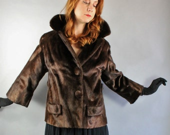 Vintage 1950s 50s Womens Plus Size Dark Chocolate Brown Glossy Nutria Fur Short Winter Coat, Marilyn Monroe, Size Large
