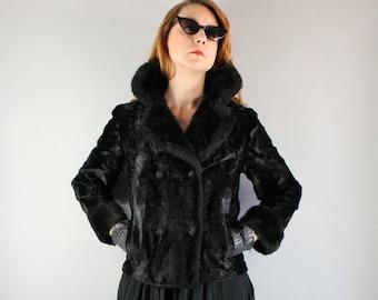 Vintage 1950s 50s Women's Black Vegan Faux Fur Hollywood Glam Short Fall Winter Evening Dress Jacket Coat