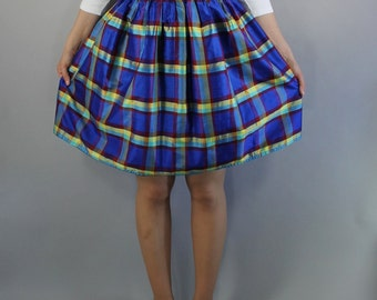 Vintage 90s does 50s Women's Royal Blue Yellow Bold Plaid Full Short Spring Summer Skirt