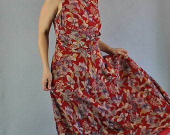 Vintage 90s does 30s Women's Deep Red Purple Orchids Floral Print Long Maxi Silk Chiffon Sleeveless Spring Summer Dress