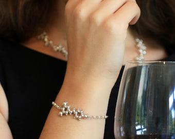 Red Wine Molecule - Resveratrol Charm Bracelet - Sterling Silver