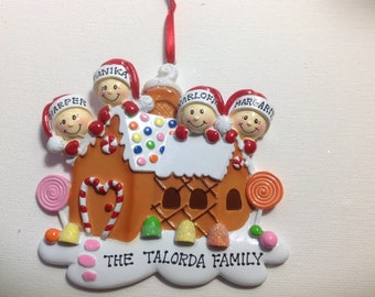 Personalized Christmas Gingerbread Ornament  Family of four  people, couple, grandkids,friends co-workers- Free personalization