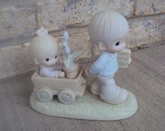 1989 Precious Moments, Easter's On Its Way, # 521892, Porcelain Figurine (Retired) With Box