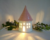 Garden Fairy House/ Night Light - with a  Pink Roof - No Chimney - Going Green, Eco Friendly